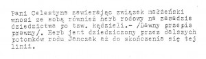 Informacja z biura heraldycznego o kądzieli