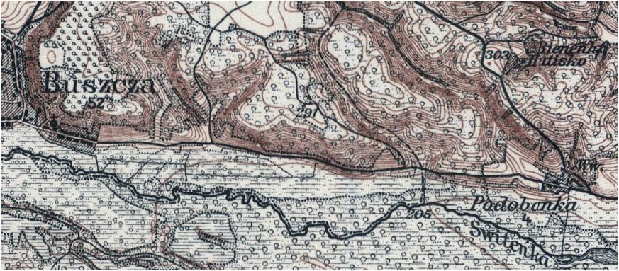 Wycinek mapy z roku 1915
