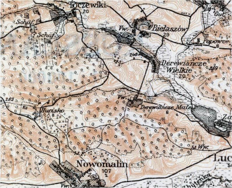 Wycinek mapy z roku 1917