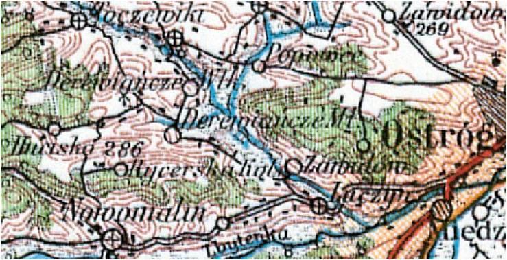 Wycinek mapy z roku 1929