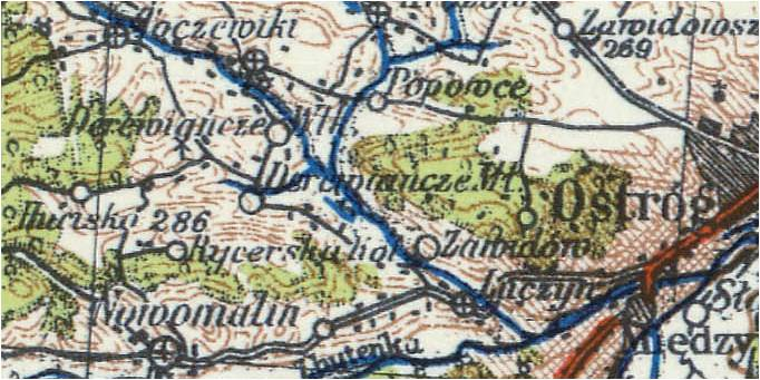Wycinek mapy z roku 1938