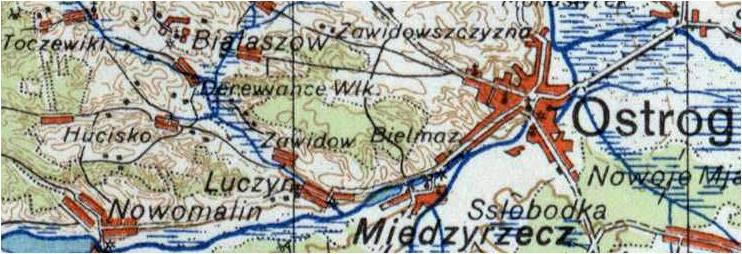 Wycinek mapy z roku 1943